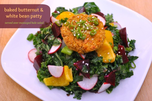 kale salad with butternut white bean patty